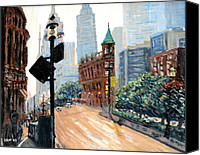 Wellington Painting Canvas Prints - Front and Wellington Streets Canvas Print by Ian Duncan MacDonald
