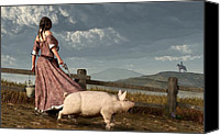 Montana Digital Art Canvas Prints - Frontier Widow Canvas Print by Daniel Eskridge