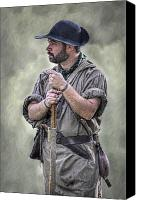 American Revolution Canvas Prints - Frontiersman Ranger Scout Portrait Canvas Print by Randy Steele
