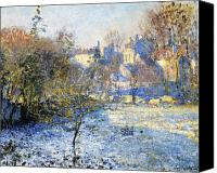 Monet Painting Canvas Prints - Frost Canvas Print by Claude Monet
