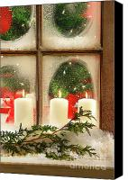 Xmas Canvas Prints - Frosted window Canvas Print by Sandra Cunningham
