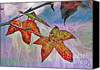 Judi Bagwell Canvas Prints - Frosty Sweetgum Leaves Canvas Print by Judi Bagwell