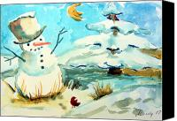 Holiday Drawings Canvas Prints - Frosty the Snow Man Canvas Print by Mindy Newman