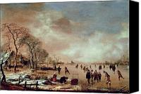Ice-skating Canvas Prints - Frozen Canal Scene  Canvas Print by Aert van der Neer