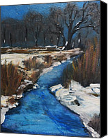 Rafael Gonzales Canvas Prints - Frozen Ditch Canvas Print by Rafael Gonzales