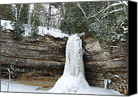 Michigan Waterfalls Canvas Prints - Frozen in time Canvas Print by Michael Peychich