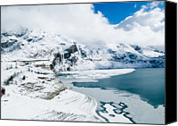 Frozen Canvas Prints - Frozen Lake In Winter Canvas Print by Www.kirstylegg.co.uk