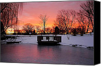 March Canvas Prints - Frozen Sunrise Canvas Print by Robert Harmon