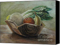 Wooden Bowls Canvas Prints - Fruit and Veggie Bowl Canvas Print by Elizabeth  Ellis