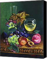 Wine Art Canvas Prints - Fruit and Wine Canvas Print by Karon Melillo DeVega