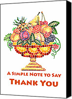 Great Painting Canvas Prints - Fruit Mosaic Thank You Note Canvas Print by Irina Sztukowski