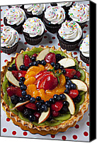 Cupcakes Canvas Prints - Fruit tart pie and cupcakes  Canvas Print by Garry Gay