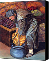 Ethnic Reliefs Canvas Prints - Fruit Vendor Canvas Print by Enzie Shahmiri