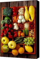Vegetables Canvas Prints - Fruits and vegetables in compartments Canvas Print by Garry Gay