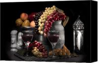 Chess Piece Canvas Prints - Fruity Wine Still Life Selective Coloring Canvas Print by Tom Mc Nemar