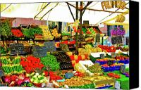 Digital Posters Photo Canvas Prints - Fruttolo Italian Vegetable Stand Canvas Print by Harry Spitz