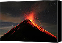 Fuego Canvas Prints - Fuego Erupts at Night Canvas Print by Kevin Sebold