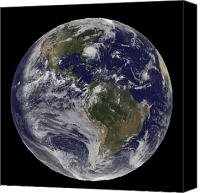 Natural Disasters Canvas Prints - Full Earth With Hurricane Irene Visible Canvas Print by Stocktrek Images