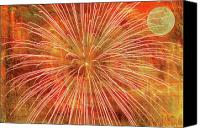 Fire Works Canvas Prints - Full Moon and Fireworks Canvas Print by Randy Steele