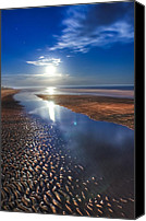 Tropical Sunset Canvas Prints - Full Moon at Folly Beach - Charleston SC  Canvas Print by Drew Castelhano