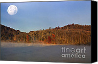 Thomas Canvas Prints - Full Moon Big Ditch Lake Canvas Print by Thomas R Fletcher