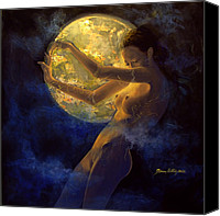 Live Art Canvas Prints - Full Moon Canvas Print by Dorina  Costras