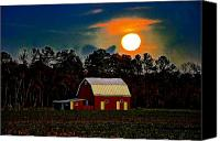 Barn Digital Art Canvas Prints - Full Moon Down on the Farm Canvas Print by Bill Cannon