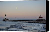 Lighthouse Pyrography Canvas Prints - Full Moon Ice Canvas Print by Whispering Feather Gallery