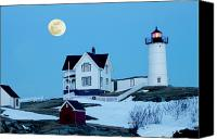 Nubble Light Canvas Prints - Full Moon Nubble Canvas Print by Greg Fortier