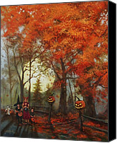 Autumn Canvas Prints - Full Moon on Halloween Lane Canvas Print by Tom Shropshire