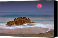Florida Nature Photography Canvas Prints - Full Moon Over Ocean And Rocks Canvas Print by Melinda Moore