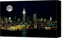 Full Moon Canvas Prints - Full Moon Rising - New York City Canvas Print by Anthony Sacco