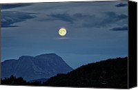 Mountain Scene Canvas Prints - Full Moon Rising Canvas Print by larigan - Patricia Hamilton