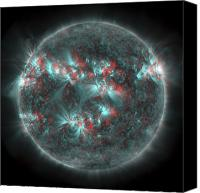 Chromosphere Canvas Prints - Full Sun With Lots Of Sunspots Canvas Print by Stocktrek Images