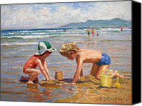 On The Beach Canvas Prints - Fun at the beach Canvas Print by Roelof Rossouw