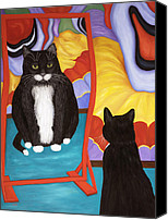 Pet Photography Painting Canvas Prints - Fun House Fat Cat Canvas Print by Karen Zuk Rosenblatt