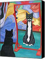 Pet Photography Painting Canvas Prints - Fun House Skinny Cat Canvas Print by Karen Zuk Rosenblatt