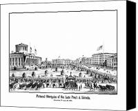 Abe Lincoln Drawings Canvas Prints - Funeral Obsequies Of President Lincoln Canvas Print by War Is Hell Store