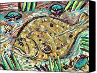 Gulf Canvas Prints - Funky Folk Flounder Canvas Print by Robert Wolverton Jr