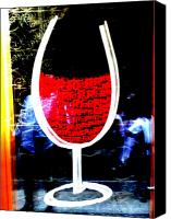 Lyon Canvas Prints - Funky French Red Wine Glass Canvas Print by Funkpix Photo  Hunter