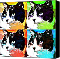 Tuxedo Cat Canvas Prints - Funky Monty Canvas Print by Fraida Gutovich