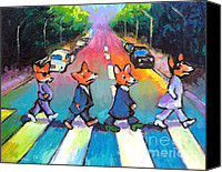 Animal Drawings Canvas Prints - Funny Abbey Road Pembroke Welsh CORGI dogs painting Canvas Print by Svetlana Novikova