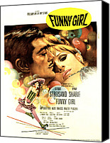 Roller Skates Canvas Prints - Funny Girl, Omar Sharif, Barbra Canvas Print by Everett