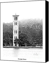 Landmarks Mixed Media Canvas Prints - FURMAN TOWER - Architectural Renderings Canvas Print by Andrew Wells