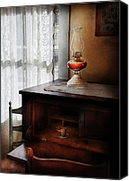 Oil Lamp Canvas Prints - Furniture - Lamp - I used to write letters  Canvas Print by Mike Savad