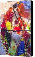 Fused Glass Art Canvas Prints - Fused Glass Hand Made Lamp Shades Canvas Print by Laura Miller