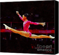 Gymnastics Painting Canvas Prints - Gabby Douglas Canvas Print by Elizabeth Coats