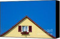 Gable Canvas Prints - Gable of beautiful house in front of blue sky Canvas Print by Matthias Hauser