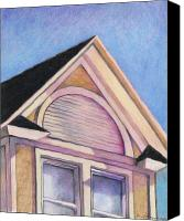Urban Scenes Drawings Canvas Prints - Gabled Roof Canvas Print by Jo Thompson