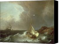 Shipwreck Painting Canvas Prints - Galleon in Stormy Seas   Canvas Print by Jan Claes Rietschoof